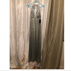 NWT Silver sequin high neck evening gown